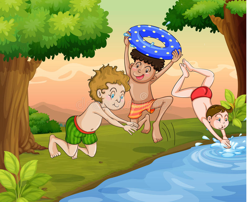 Kids swimming. Illustration of kids swimming outdoor in jungle stock illustration