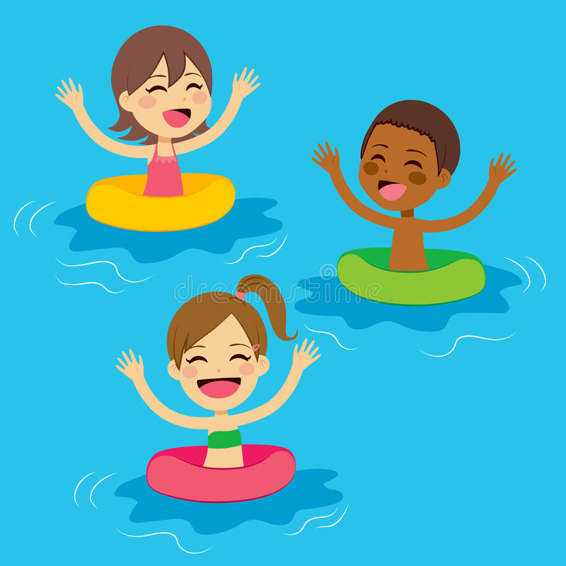Kids Swimming With Floats. Three cute little kids swimming with colorful floats vector illustration