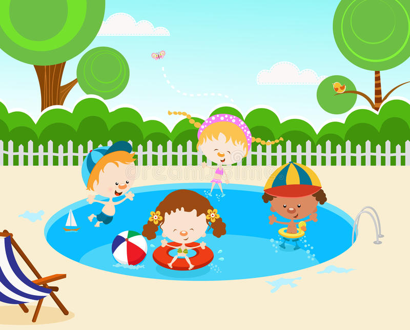 Kids In Swimming Pool. Group of kids enjoying swimming pool vector illustration