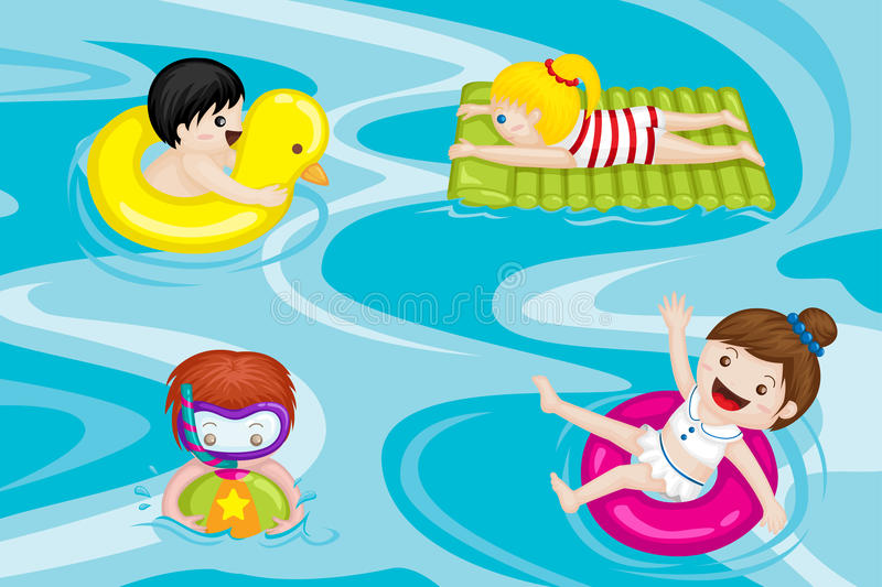 Kids in swimming pool. A vector illustration of kids swimming in swimming pool stock illustration