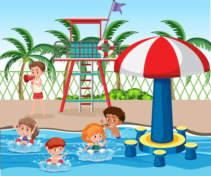 Kids at swimming pool. Illustration royalty free illustration