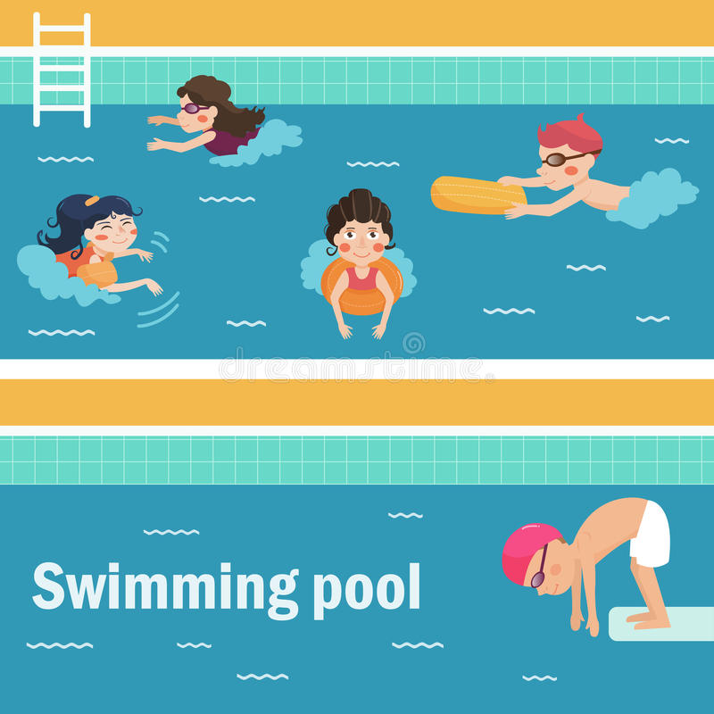 Kids in the swimming pool. Vector illustration. Cartoon characters. Flat. . Water Park vector illustration