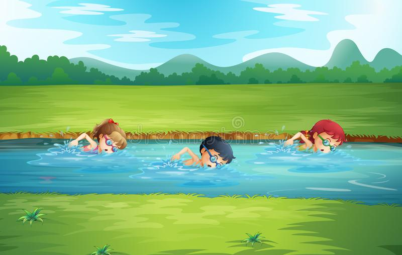 Kids swimming in river. Illustration stock illustration