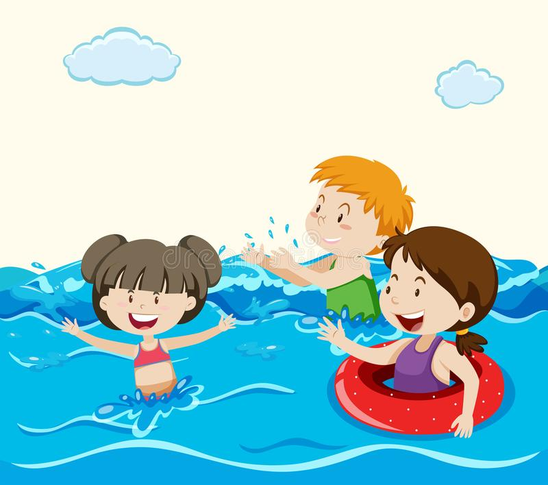 Kids Swimming in the Sea. Illustration royalty free illustration