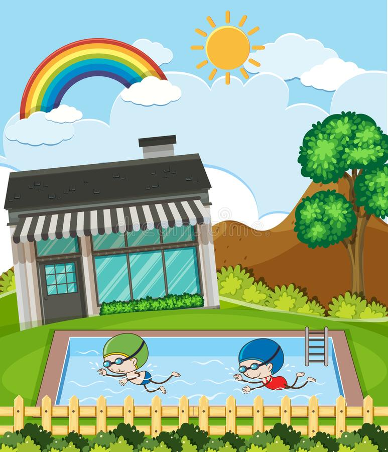Kids Swimming in Sunny Day. Illustration stock illustration