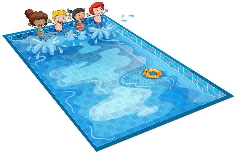 Kids in swimming tank royalty free illustration
