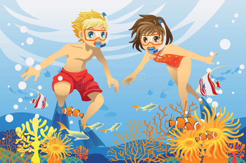Kids swimming underwater. A vector illustration of two kids swimming and diving underwater in the ocean royalty free illustration