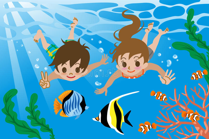 Kids swimming underwater. Vector illustration of Kids who swimming underwater vector illustration