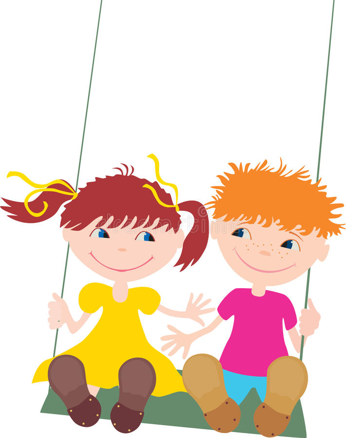 Kids on the swing royalty free illustration