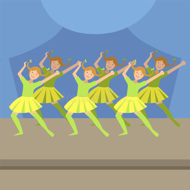 Kids Synchronized Modern Dance Performance stock illustration