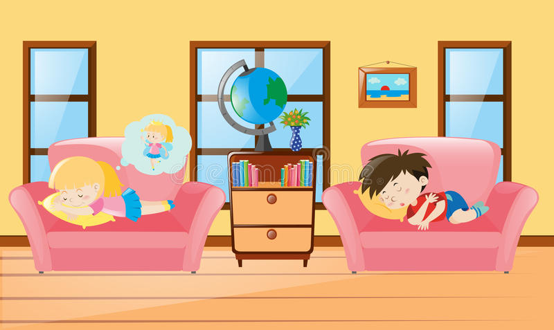 Kids taking nap on sofa. Illustration stock illustration