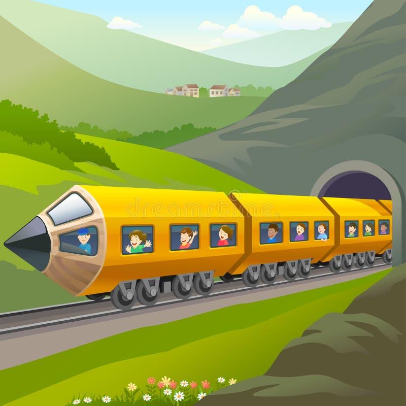 Kids Taking A Train Ride vector illustration