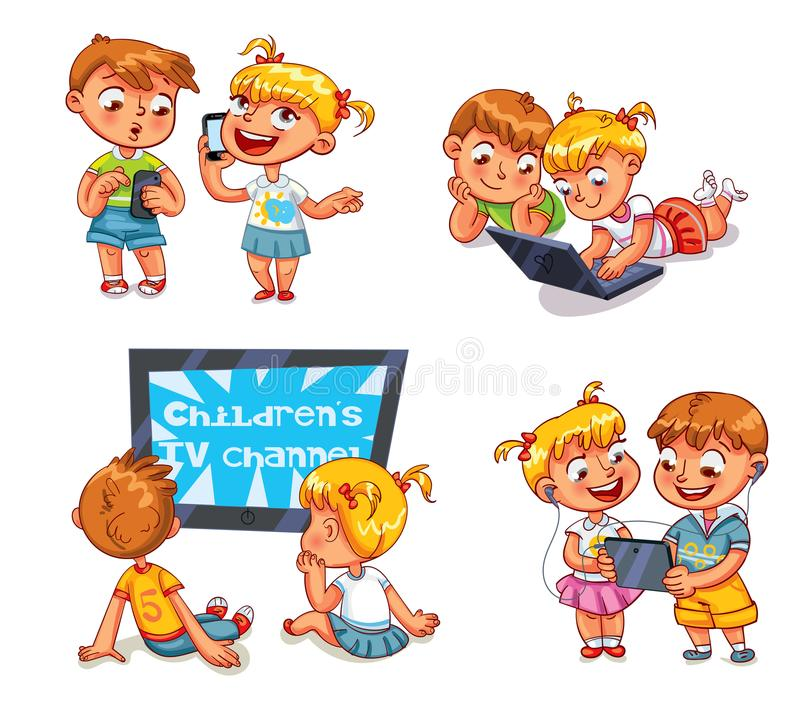 Children and technical progress. Funny cartoon character. Kids talking on the phone. Boy is getting SMS. Children watching TV. Brother and sister with laptop royalty free illustration