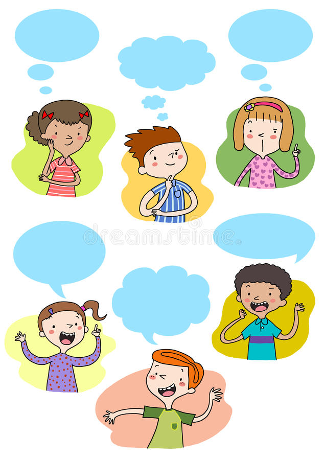Download Kids talking and thinking stock illustration. Illustration of chatting - 15403778