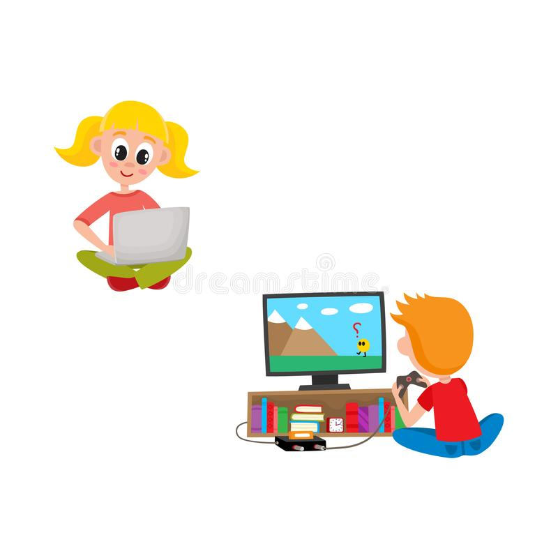 Kids with technologies set - little girl sitting with laptop and boy playing TV console game. stock illustration