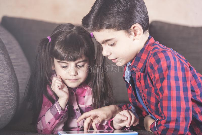 Kids and technology concept stock photo