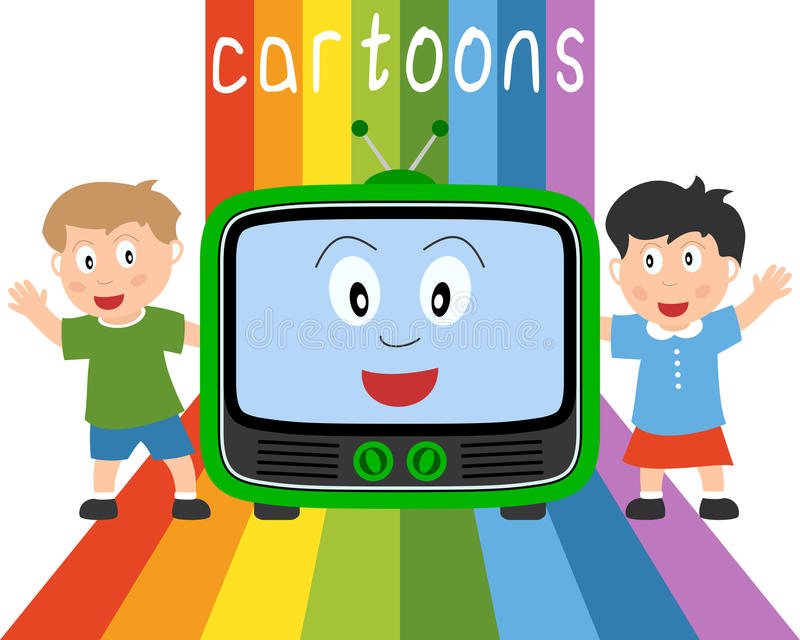 Kids & Television - Cartoons. Two kids, a television and the word cartoons on a rainbow backgound. Eps file available royalty free illustration