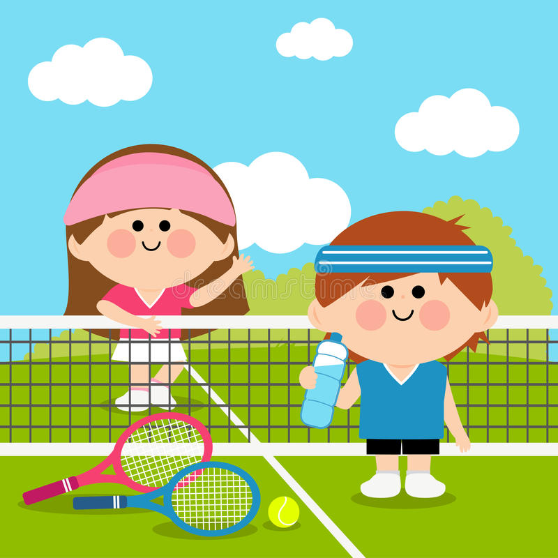 Kids tennis players at tennis court taking a break. Boy and a girl tennis players at the tennis court taking a break from game and drinking water royalty free illustration