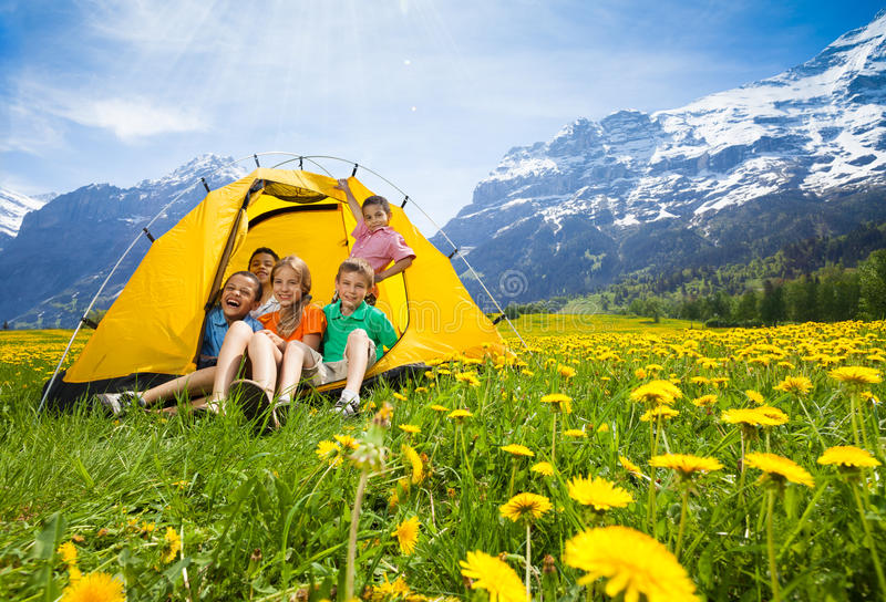 Kids in tent royalty free stock photos