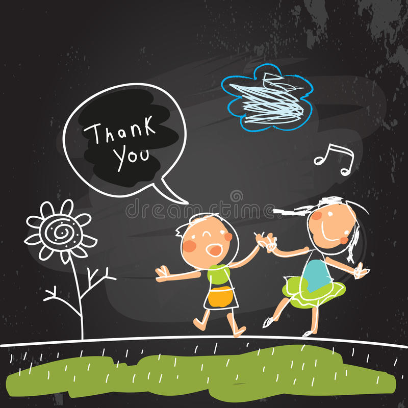 Kids thank you card stock illustration