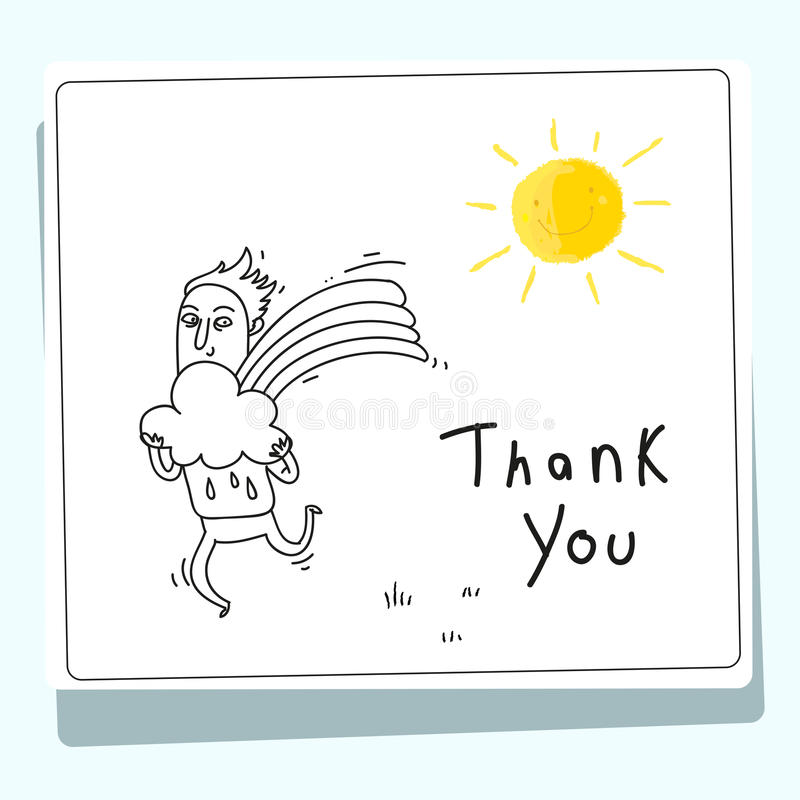 Kids thank you card royalty free illustration