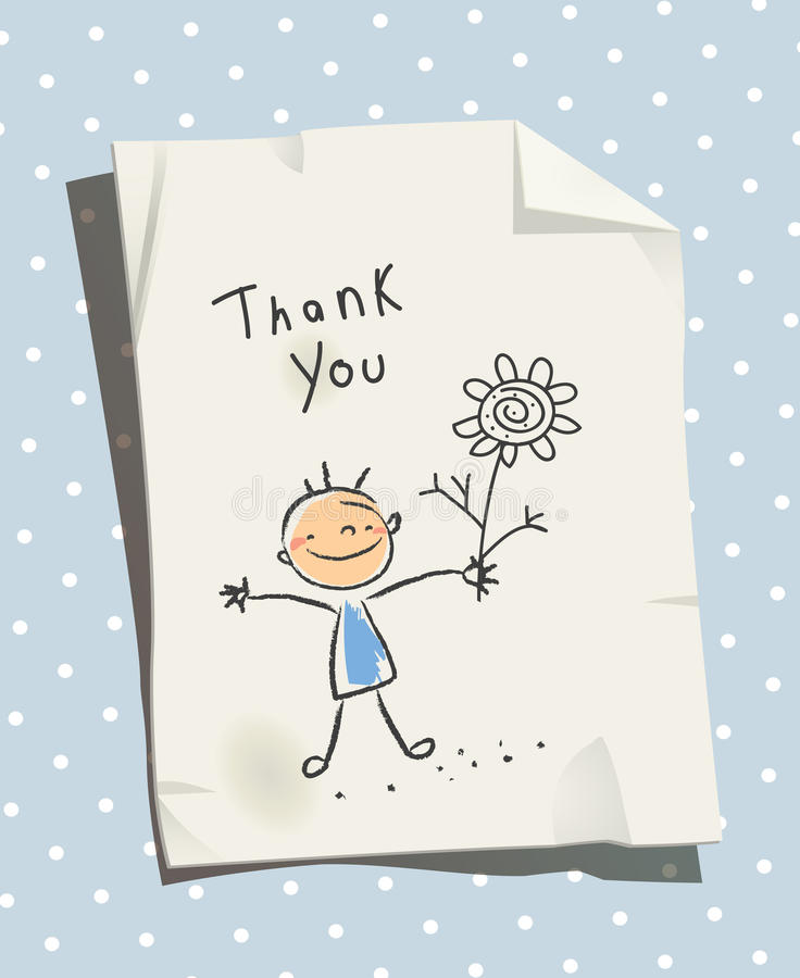 Kids thank you for help, love card royalty free illustration