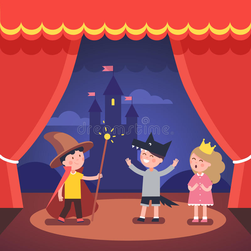 Kids theater performance show on scene vector illustration