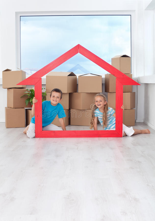 Download Kids in their new home stock image. Image of casual, happy - 21310103