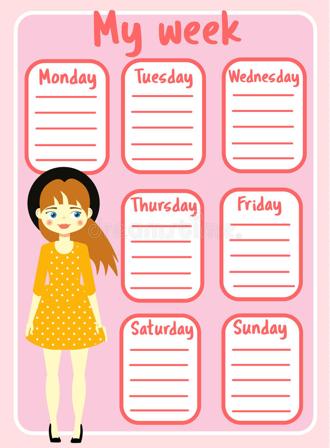 Kids Timetable With Beautiful Teen Character Weekly Planner For