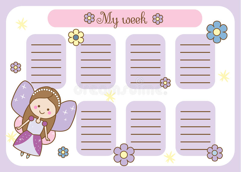 Kids Timetable With Cute Princess  Weekly Planner For