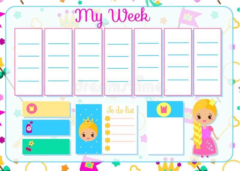 Kids Timetable With Cute Fairy Character  Weekly Planner For