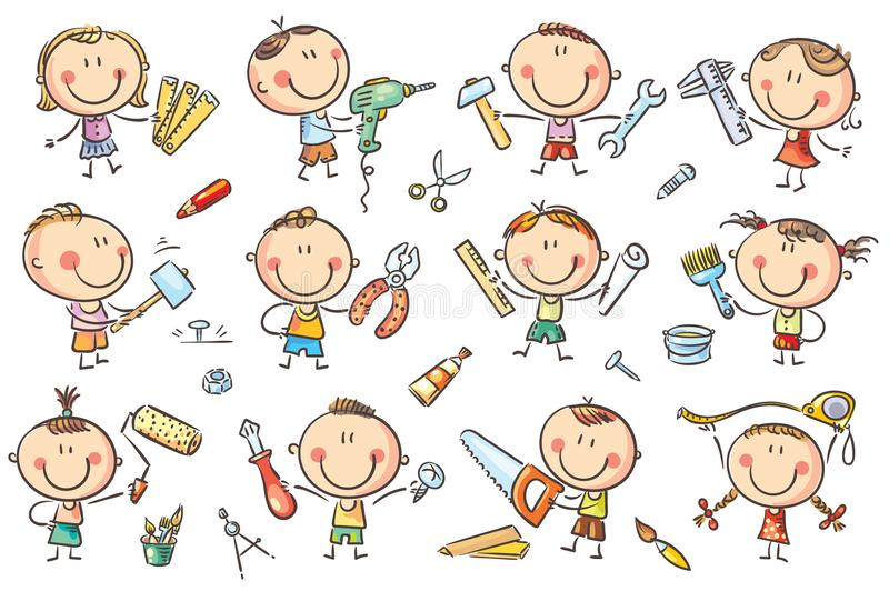 Kids with Tools. Funny cartoon kids with different tools for construction, measurements, painting. No gradients used, easy to print and edit. Vector files can be vector illustration