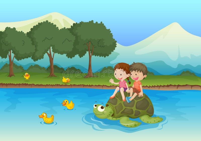 Kids on tortoise royalty free illustration
