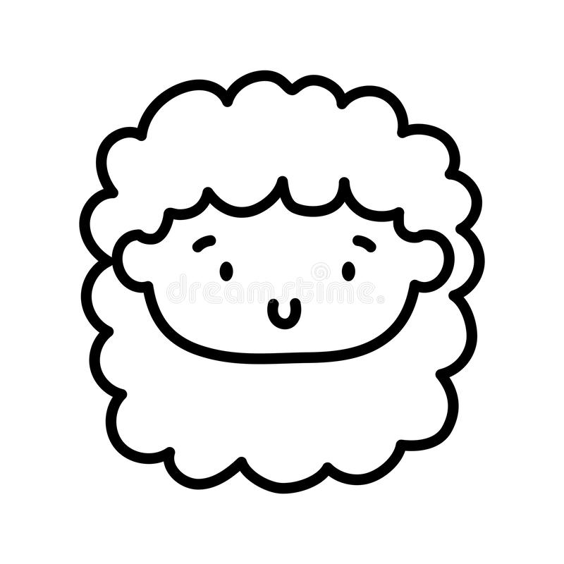 Kids toy, cute face little doll icon thick line vector illustration