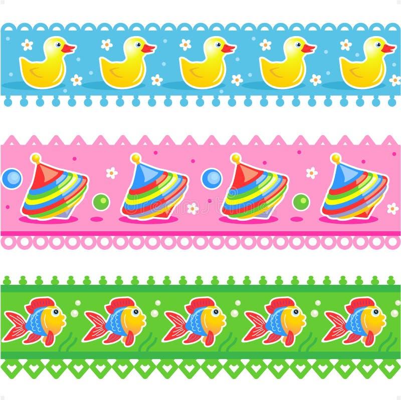 Kids toys borders seamless patterns royalty free illustration