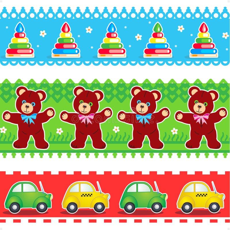 Kids toys borders seamless patterns stock illustration
