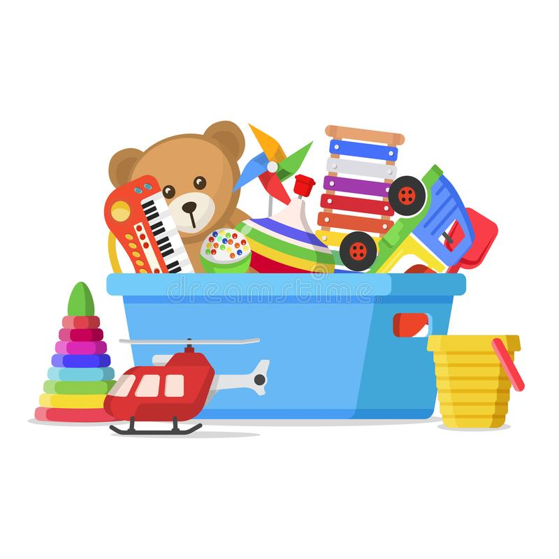 Kids toys in a box royalty free illustration