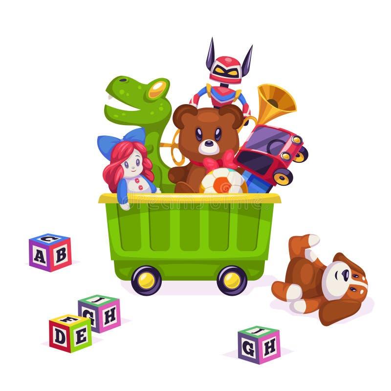 Kids toys box. Toy kid child play game bear pyramid ball train yacht horse doll duck boat plane car rabbit stock illustration