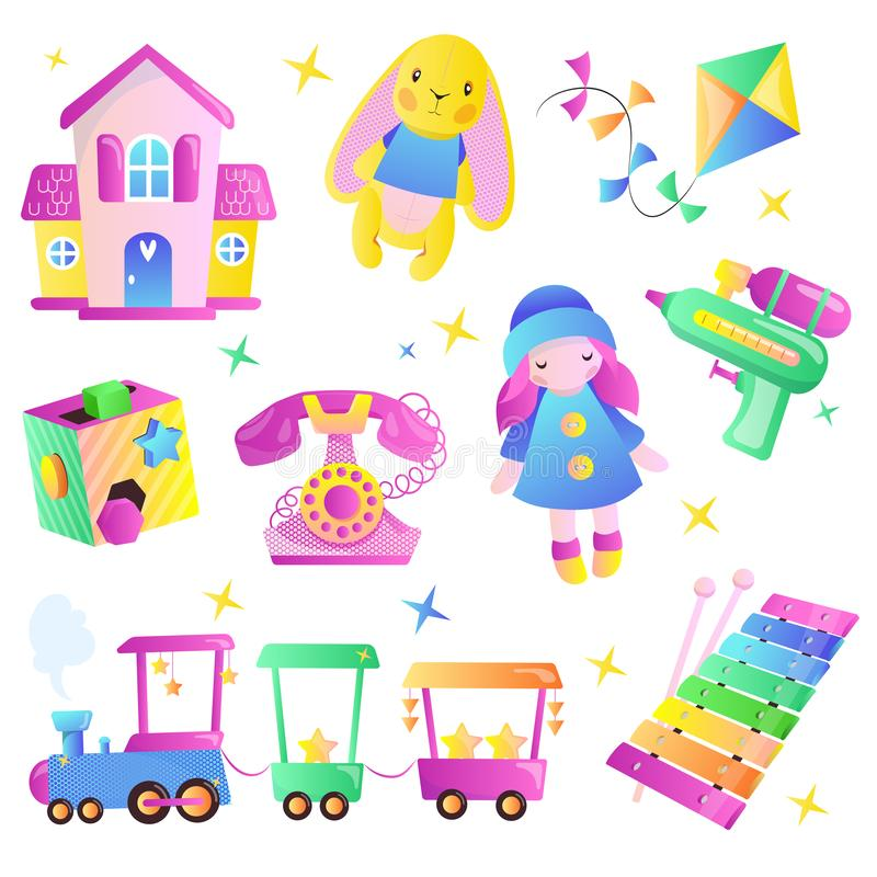 Kids toys cartoon style illustration. Multicolor cute toys for baby boy and girl. Gift shop design elements. Set vector illustration