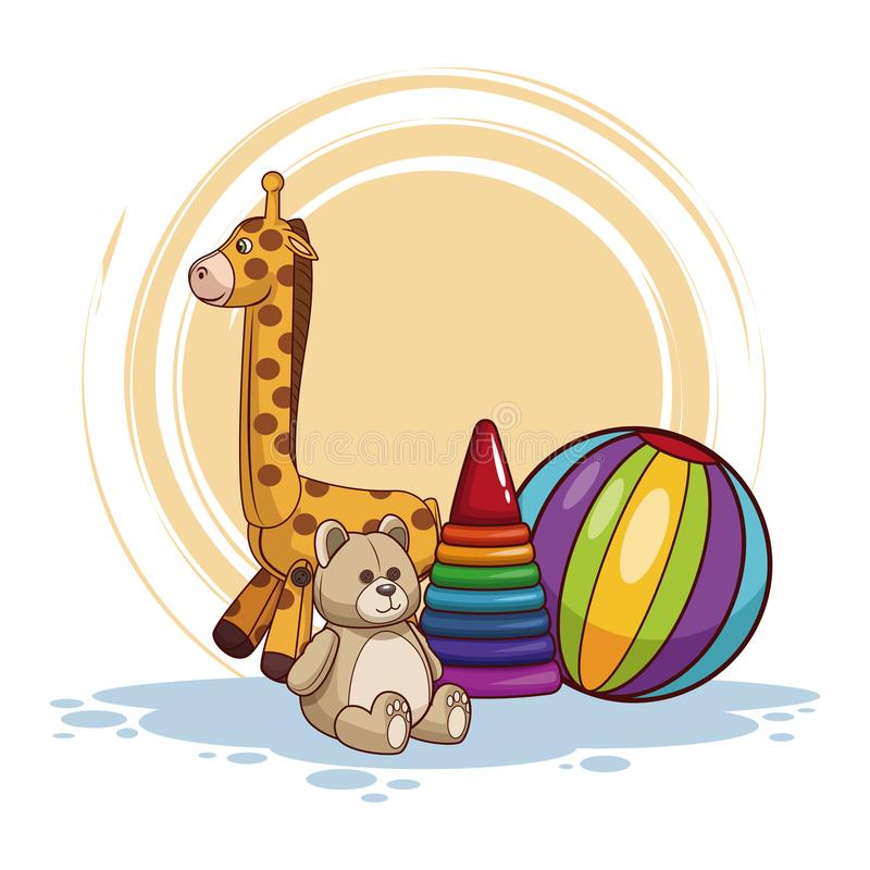 Kids toys cartoon. Vector illustration graphic design stock illustration