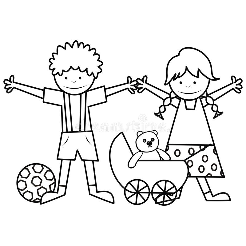 Kids And Toys - Coloring Book Stock Vector - Illustration of kids ...