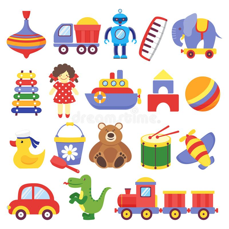 Kids toys. Game toy peg-top teddy bear drum yellow duckling dinosaur rocket childrens cubes robot. Baby toddler toy vector stock illustration