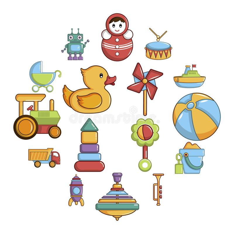 Kids toys icons set, cartoon style. Kids toys icons set. Cartoon illustration of 16 kids toys icons for web vector illustration