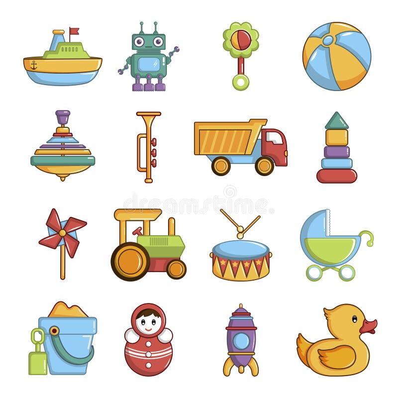 Kids toys icons set, cartoon style. Kids toys icons set. Cartoon illustration of 16 kids toys vector icons for web royalty free illustration