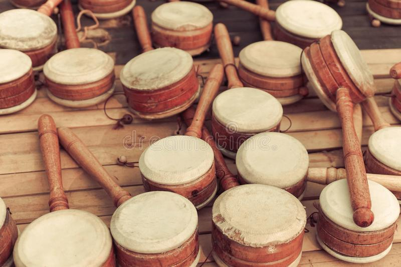 Kids toys percussion with handle stick traditional music. Tools stock photography