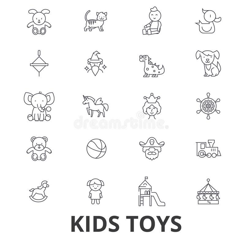 Kids toys, playing, baby toy, children toy, kids room, teddy bear, yule, pirate line icons. Editable strokes. Flat stock illustration