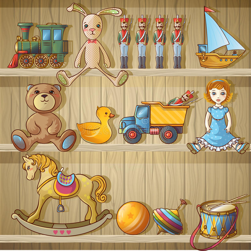 Download Kids Toys On Shelves Composition Stock Vector