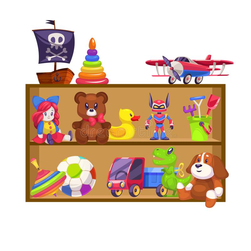 Kids toys shelves. Toy kid shop wood shelf doll bear baby game plane colorful pyramid piano rattle car rabbit duck flat. Vector illustration vector illustration