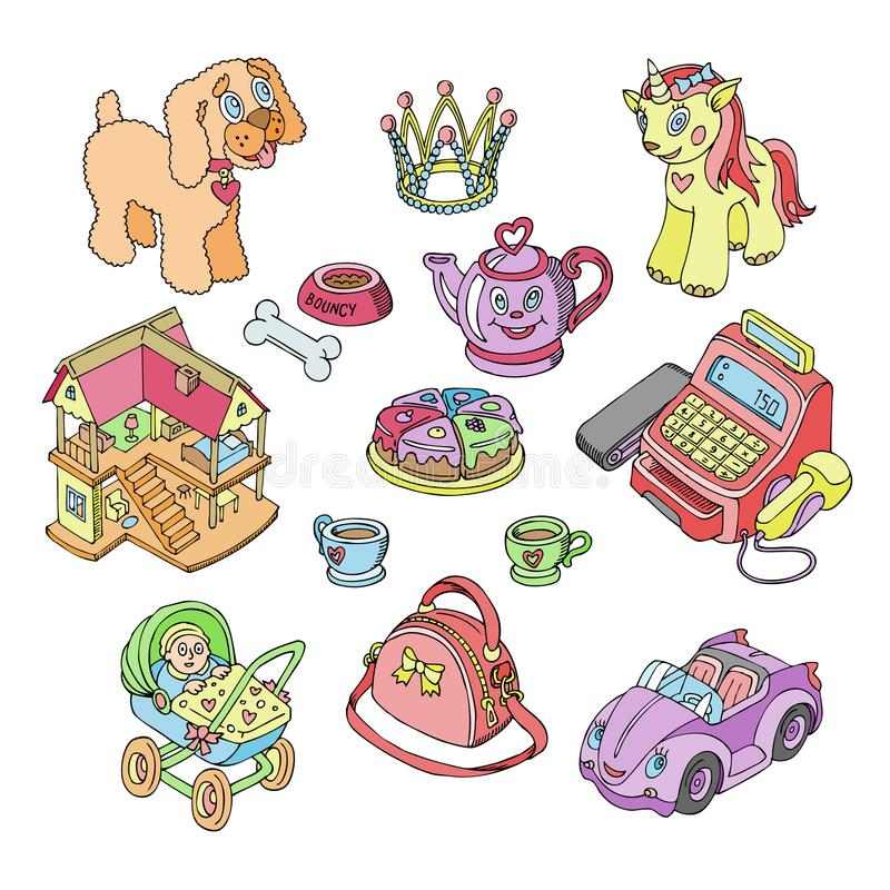 Kids toys vector cartoon games for children in playroom and playing with childish car or girlish doll stroller. Illustration set of unicorn or dog isolated on vector illustration