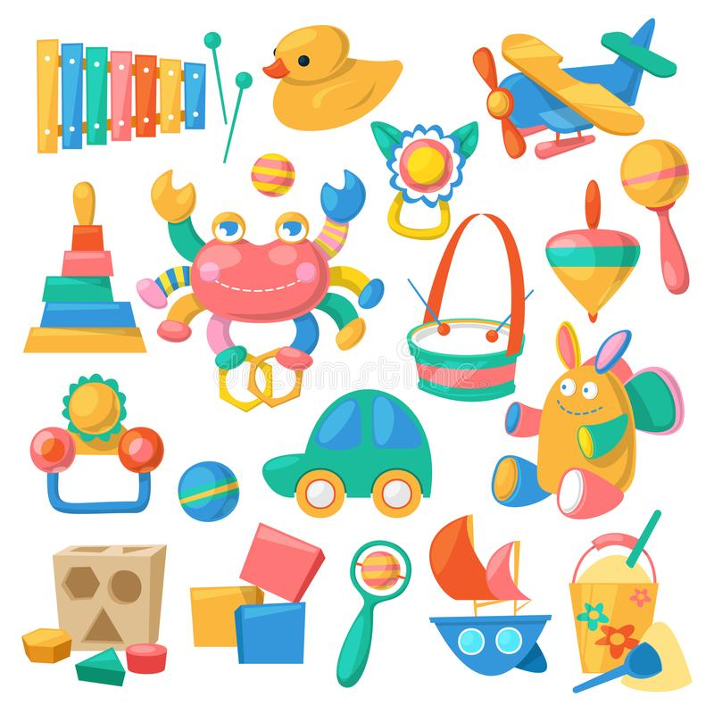Kids toys vector cartoon games for children in playroom and playing with duck car or colorful blocks illustration set royalty free illustration